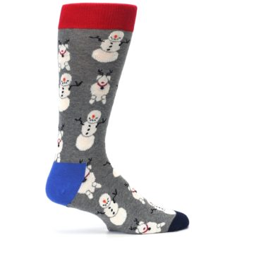 Image of Gray Snowman and Reindeer Men's Dress Socks (side-1-24)