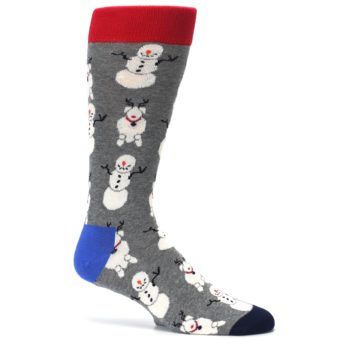 Image of Gray Snowman and Reindeer Men's Dress Socks (side-1-25)