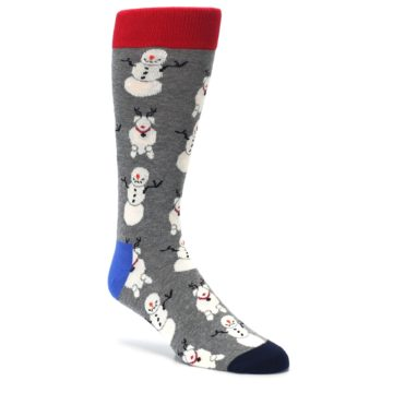 Image of Gray Snowman and Reindeer Men's Dress Socks (side-1-27)
