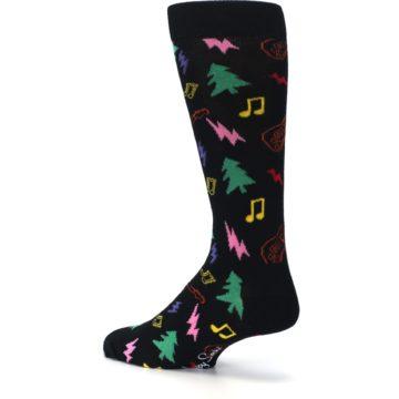 Image of Black Rock n Roll Christmas Men's Dress Socks (side-2-back-14)