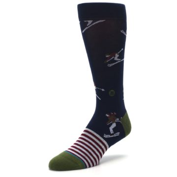 Image of Navy Maroon Wilmot Snow Skiing Men's Casual Socks (side-2-front-08)