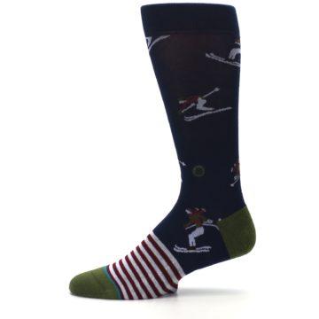 Image of Navy Maroon Wilmot Snow Skiing Men's Casual Socks (side-2-11)