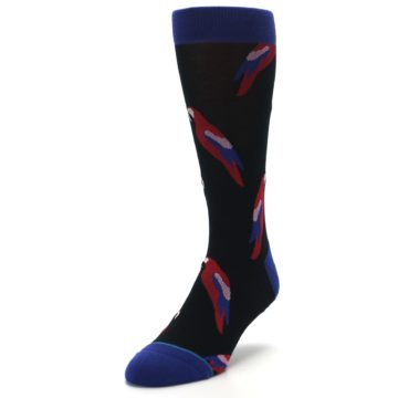 Image of Black Red Polly Bird Men's Casual Socks (side-2-front-07)