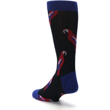Image of Black Red Polly Bird Men's Casual Socks (side-2-back-15)