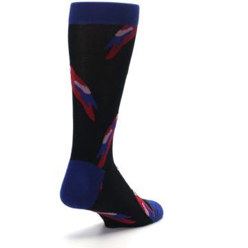 Image of Black Red Polly Bird Men's Casual Socks (side-1-back-21)