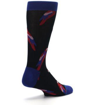 Image of Black Red Polly Bird Men's Casual Socks (side-1-back-22)