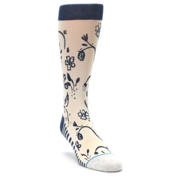 Image of Cream Navy Floral Playa Dust Men's Casual Socks (side-1-front-02)