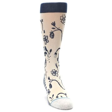 Image of Cream Navy Floral Playa Dust Men's Casual Socks (side-1-front-03)