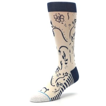 Image of Cream Navy Floral Playa Dust Men's Casual Socks (side-2-front-08)