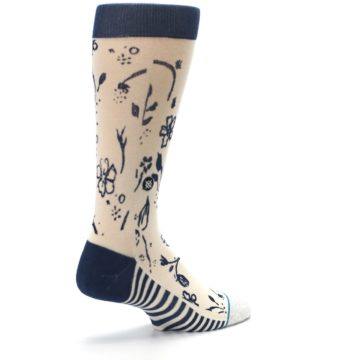Image of Cream Navy Floral Playa Dust Men's Casual Socks (side-1-back-22)