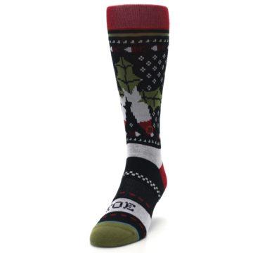 Image of Black Red Mistletoe Men's Casual Socks (side-2-front-06)