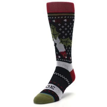 Image of Black Red Mistletoe Men's Casual Socks (side-2-front-07)