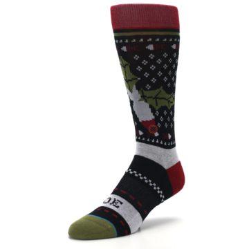 Image of Black Red Mistletoe Men's Casual Socks (side-2-front-08)