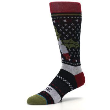 Image of Black Red Mistletoe Men's Casual Socks (side-2-09)