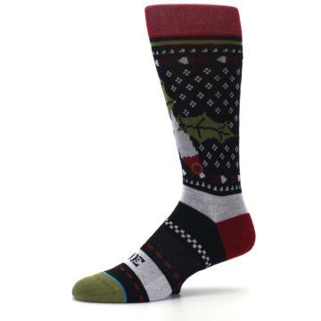 Image of Black Red Mistletoe Men's Casual Socks (side-2-10)