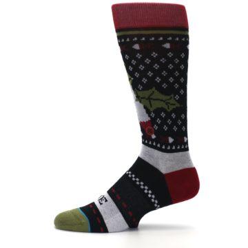 Image of Black Red Mistletoe Men's Casual Socks (side-2-11)