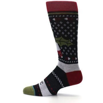 Image of Black Red Mistletoe Men's Casual Socks (side-2-12)