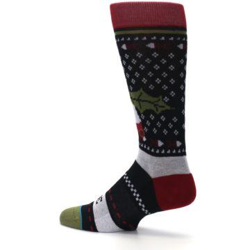 Image of Black Red Mistletoe Men's Casual Socks (side-2-13)
