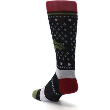 Image of Black Red Mistletoe Men's Casual Socks (side-2-back-15)