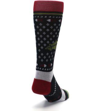 Image of Black Red Mistletoe Men's Casual Socks (side-1-back-20)
