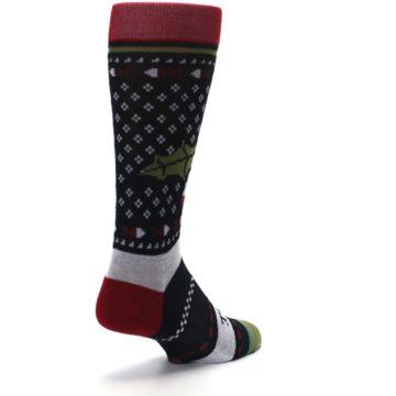 Image of Black Red Mistletoe Men's Casual Socks (side-1-back-21)