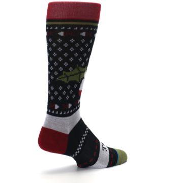 Image of Black Red Mistletoe Men's Casual Socks (side-1-back-22)