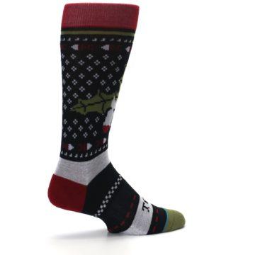 Image of Black Red Mistletoe Men's Casual Socks (side-1-23)