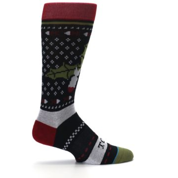 Image of Black Red Mistletoe Men's Casual Socks (side-1-24)