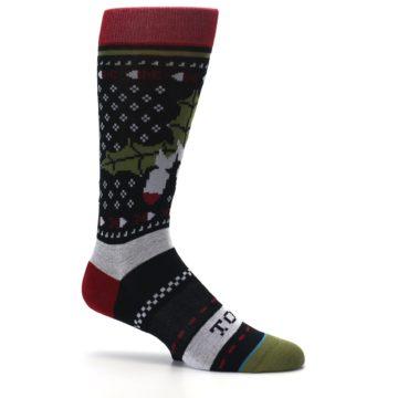 Image of Black Red Mistletoe Men's Casual Socks (side-1-25)