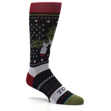 Image of Black Red Mistletoe Men's Casual Socks (side-1-26)