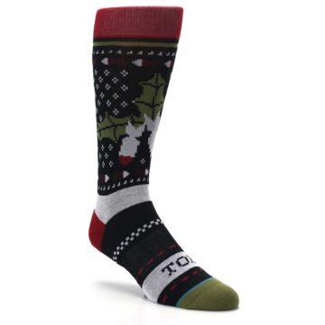 Image of Black Red Mistletoe Men's Casual Socks (side-1-27)