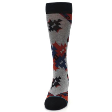 Image of Gray Red Blue Geometric Men's Casual Socks (front-05)