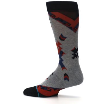 Image of Gray Red Blue Geometric Men's Casual Socks (side-2-12)
