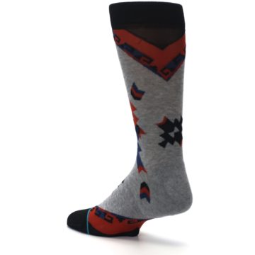 Image of Gray Red Blue Geometric Men's Casual Socks (side-2-back-14)