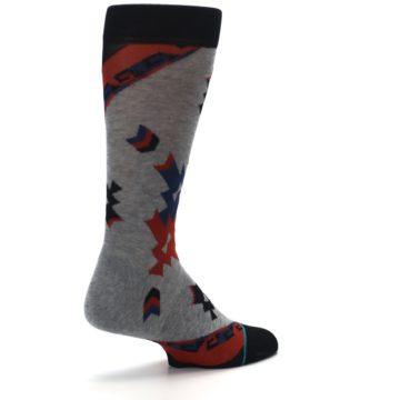 Image of Gray Red Blue Geometric Men's Casual Socks (side-1-back-22)