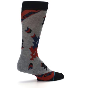Image of Gray Red Blue Geometric Men's Casual Socks (side-1-23)