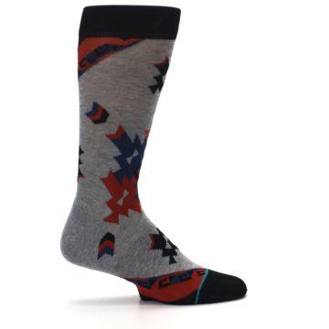Image of Gray Red Blue Geometric Men's Casual Socks (side-1-24)
