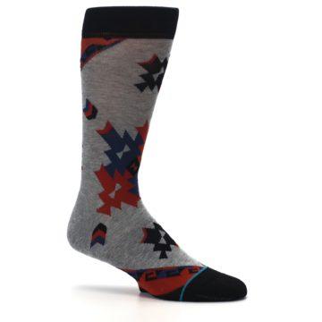 Image of Gray Red Blue Geometric Men's Casual Socks (side-1-25)