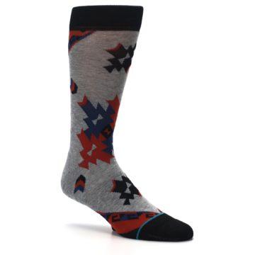 Image of Gray Red Blue Geometric Men's Casual Socks (side-1-26)