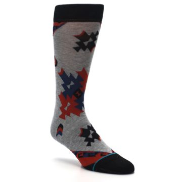 Image of Gray Red Blue Geometric Men's Casual Socks (side-1-27)