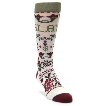 Image of Christmas Floral Slay Ride Men's Casual Socks (side-1-front-02)