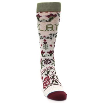 Image of Christmas Floral Slay Ride Men's Casual Socks (side-1-front-03)
