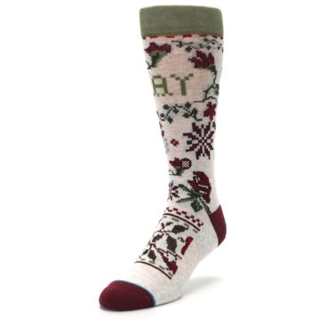 Image of Christmas Floral Slay Ride Men's Casual Socks (side-2-front-07)