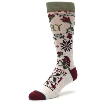 Image of Christmas Floral Slay Ride Men's Casual Socks (side-2-front-08)