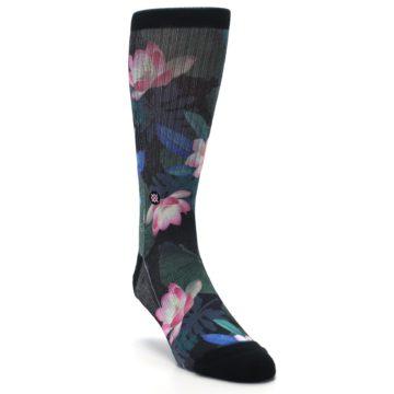 Image of Black Pink Blue Floral Men's Casual Socks (side-1-front-02)