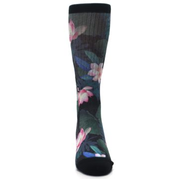 Image of Black Pink Blue Floral Men's Casual Socks (front-04)