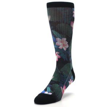 Image of Black Pink Blue Floral Men's Casual Socks (side-2-front-07)