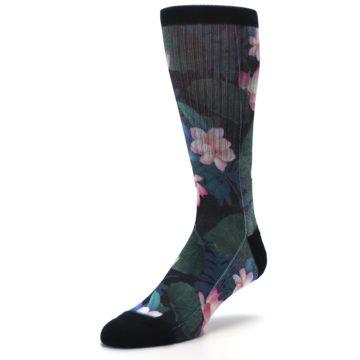 Image of Black Pink Blue Floral Men's Casual Socks (side-2-front-08)
