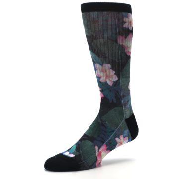 Image of Black Pink Blue Floral Men's Casual Socks (side-2-09)