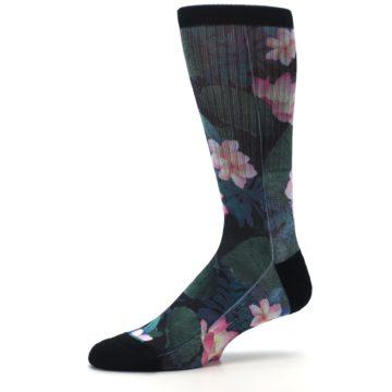 Image of Black Pink Blue Floral Men's Casual Socks (side-2-10)